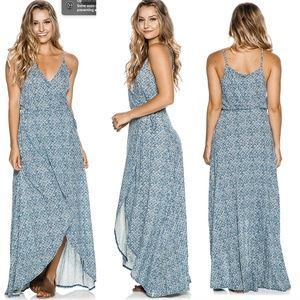 Volcom Beckon Me Boho Maxi Wrap Dress XS New